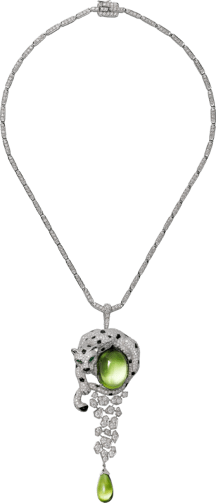 Panthère de Cartier High Jewelry necklace White gold, peridots, onyx, emeralds, diamonds