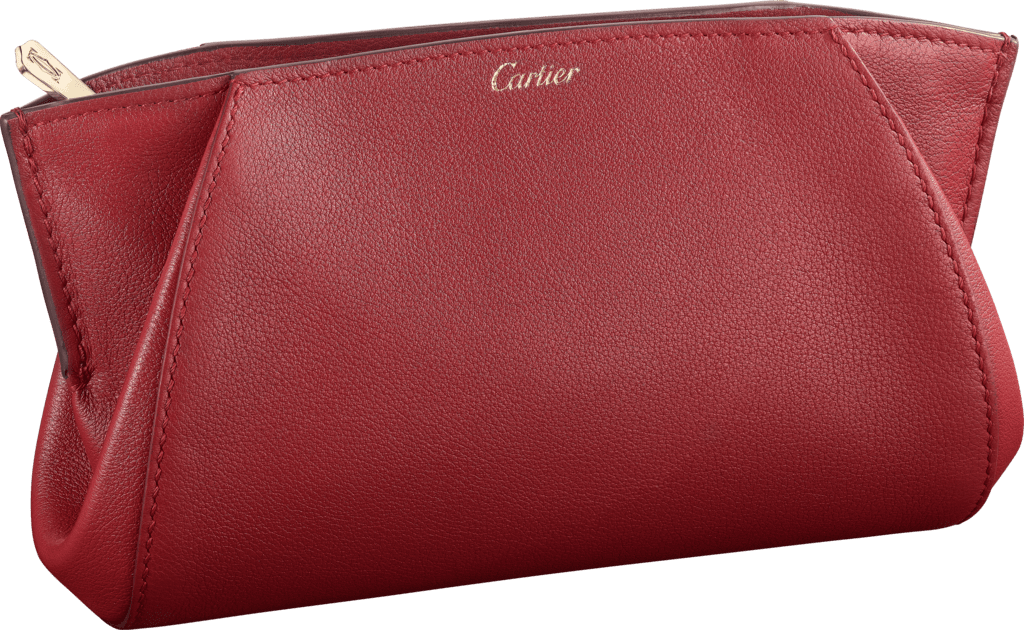 Small Leather Goods C de Cartier clutch bagRed spinel taurillon leather, golden finish