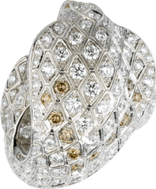 Faune et Flore de Cartier ring Platinum, brown diamonds, yellow diamonds, diamonds