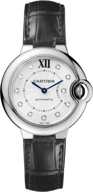 Ballon Bleu de Cartier watch 33 mm, steel, leather, diamonds