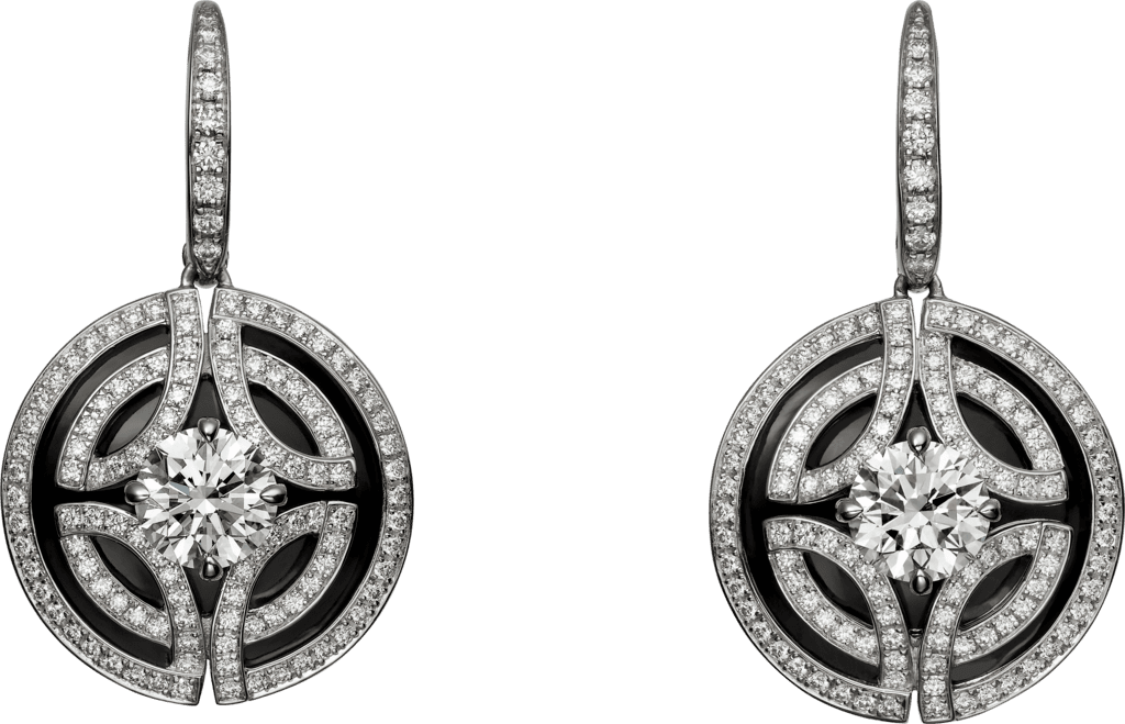 Galanterie de Cartier earringsWhite gold, black lacquer, diamonds