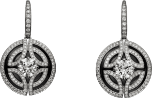 Galanterie de Cartier earrings White gold, black lacquer, diamonds