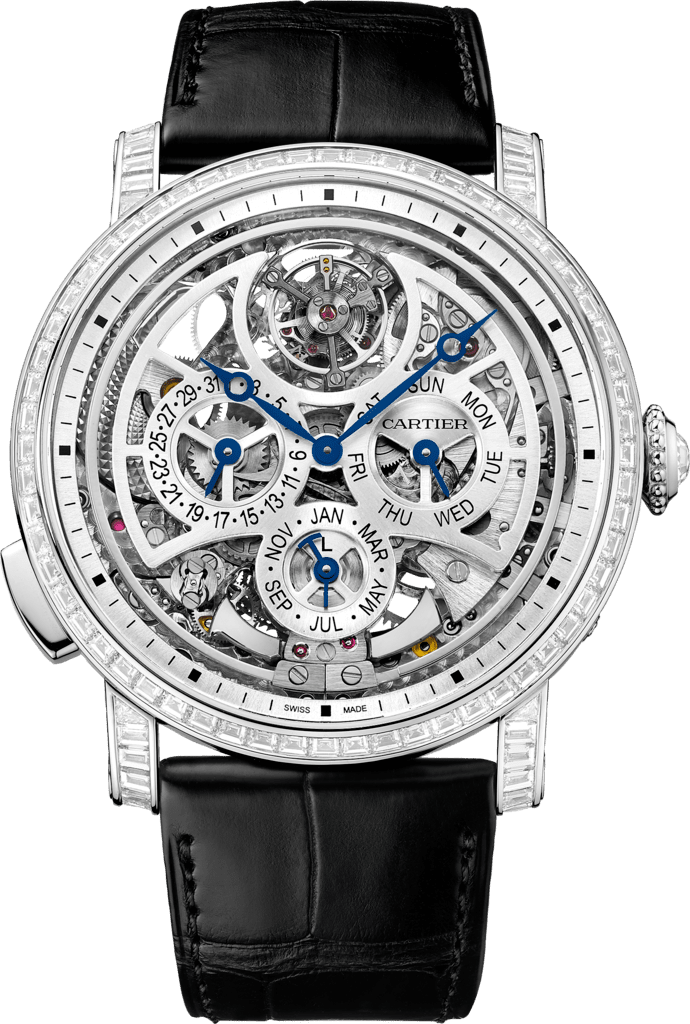 Rotonde de Cartier Grande Complication Skeleton watch45 mm, platinum, leather, diamonds