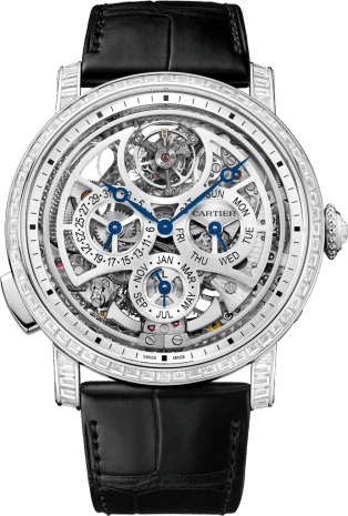 Rotonde de Cartier Grande Complication Skeleton watch 45 mm, platinum, leather, diamonds