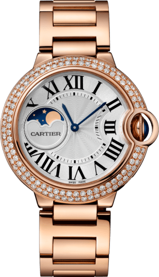 Ballon Bleu de Cartier watch 37 mm, 18K pink gold, sapphire, diamonds