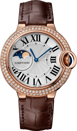 Ballon Bleu de Cartier watch 37 mm, 18K pink gold, leather, sapphire, diamonds