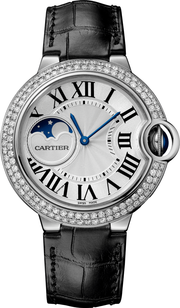 Ballon Bleu de Cartier watch37 mm, rhodiumized 18K white gold, leather, sapphire, diamonds