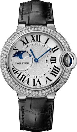 Ballon Bleu de Cartier watch 37 mm, rhodiumized 18K white gold, leather, sapphire, diamonds