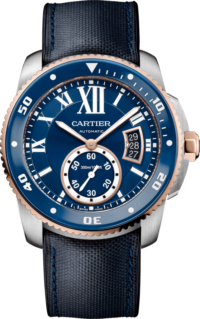 Calibre de Cartier Diver blue watch42 mm, 18K pink gold, steel and leather