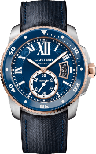 Calibre de Cartier Diver blue watch 42 mm, 18K pink gold, steel and leather