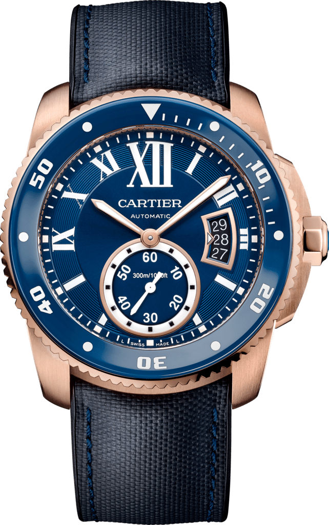Calibre de Cartier Diver blue watch42 mm, 18K pink gold, leather and rubber