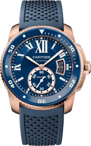 Calibre de Cartier Diver blue watch 42 mm, 18K pink gold, rubber