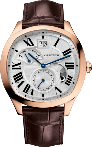 Drive de Cartier watch, Large Date, Retrograde Second Time Zone and Day Night Indicator Pink gold, leather