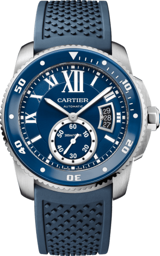 Calibre de Cartier Diver blue watch 42 mm, steel, rubber