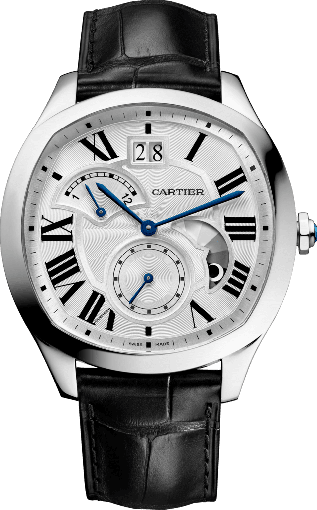 Drive de Cartier watch, Large Date, Retrograde Second Time Zone and Day Night IndicatorSteel, leather