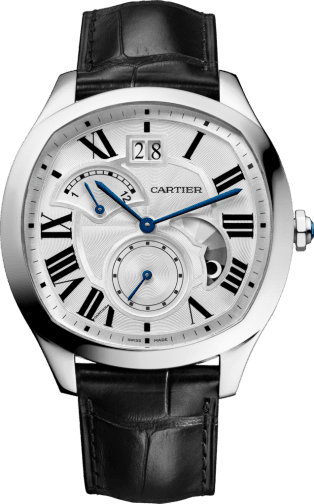 Drive de Cartier watch, Large Date, Retrograde Second Time Zone and Day Night Indicator Steel, leather