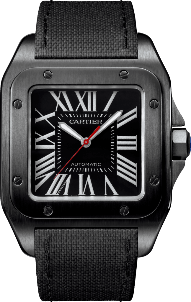 Santos 100 Carbon watchLarge model, steel, leather