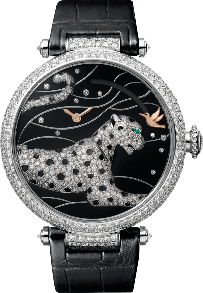 Panthères et Colibri watchLarge model, rhodiumized 18K white gold, leather, diamonds
