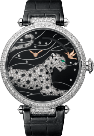 Panthères et Colibri watch Large model, rhodiumized 18K white gold, leather, diamonds
