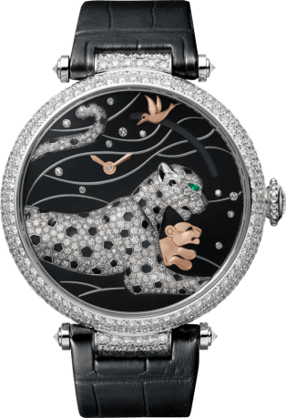 Panthère Jewelry Watches Large model, rhodiumized 18K white gold, leather, diamonds