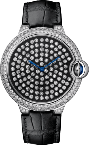 Ballon Bleu de Cartier watch 42mm, hand-wound mechanical movement, white gold, diamonds, leather