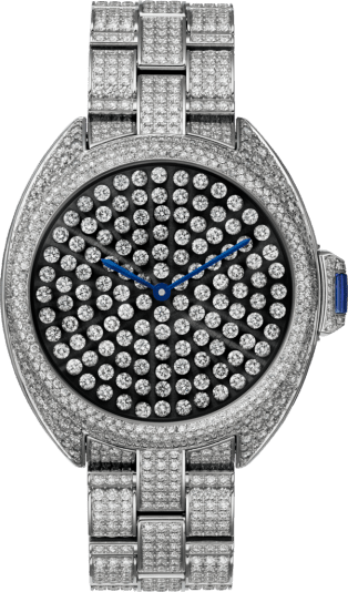 Clé de Cartier watch 40mm, automatic movement, white gold, diamonds