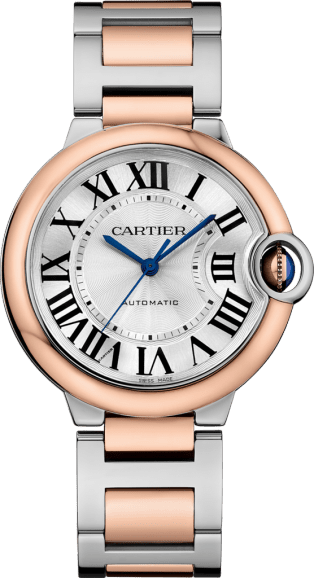 Ballon Bleu de Cartier watch 36 mm, 18K pink gold and steel