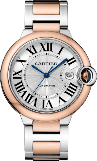 Ballon Bleu de Cartier watch 42 mm, 18K pink gold and steel