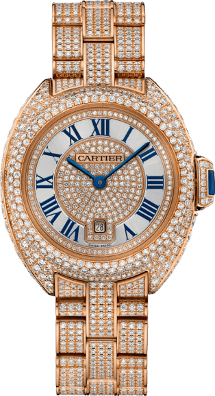 Clé de Cartier watch 31 mm, 18K pink gold, diamonds
