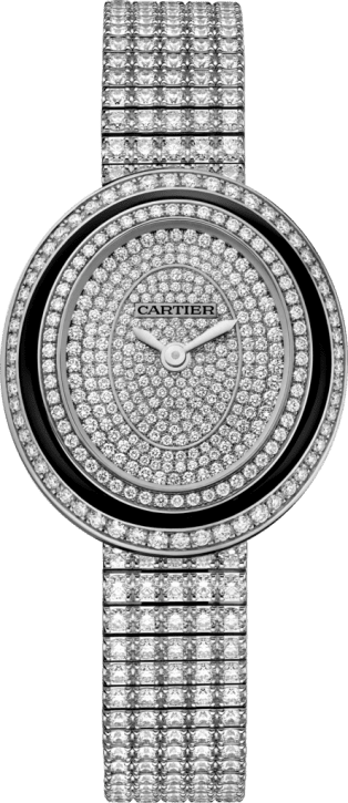 Hypnose watch Small model, rhodiumized 18K white gold, black lacquer, diamonds