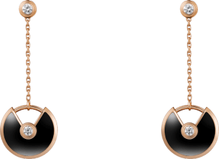 Amulette de Cartier earrings, XS model Pink gold, onyx, diamonds