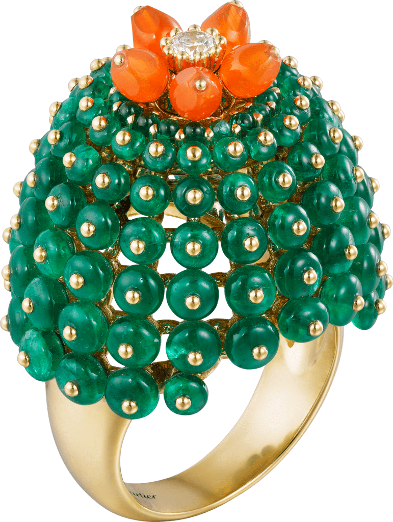 Cactus de Cartier ringYellow gold, emeralds, carnelians, diamonds
