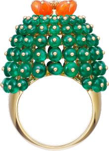 Cactus de Cartier ring Yellow gold, emeralds, carnelians, diamonds