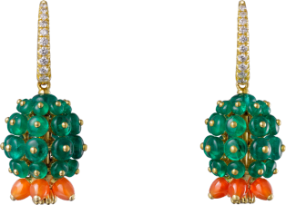 Cactus de Cartier earrings Yellow gold, emeralds, carnelians, diamonds