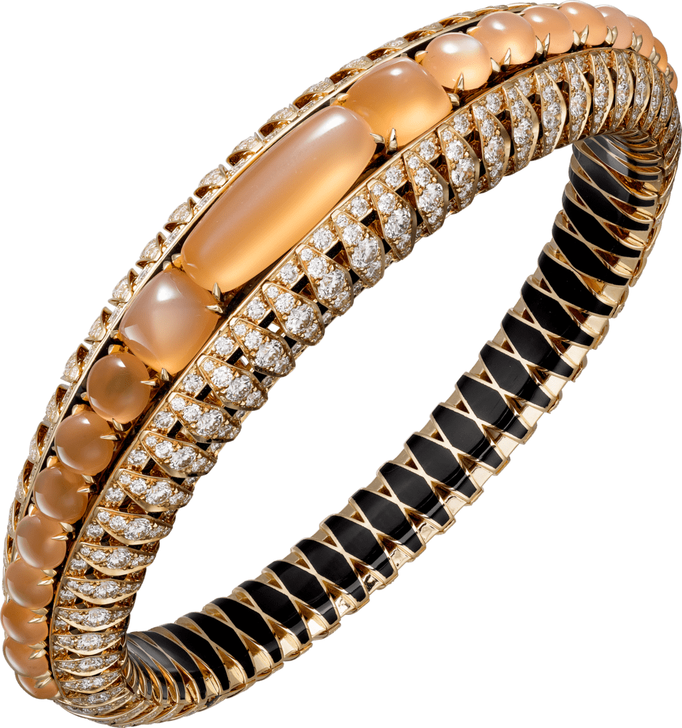 High Jewelry braceletPink gold, moonstones, black lacquer, diamonds