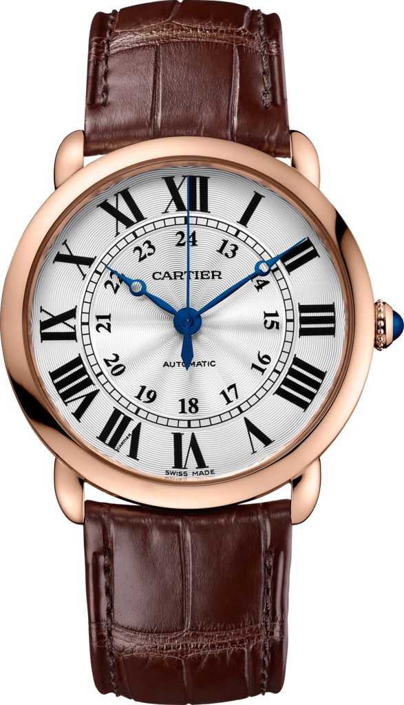 Ronde Louis Cartier watch36mm, automatic movement, pink gold, leather