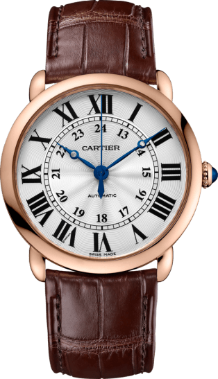 Ronde Louis Cartier watch 36mm, automatic movement, pink gold, leather