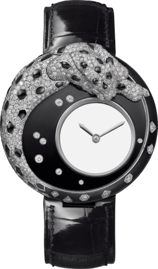 Panthère Jewelry Watches 40mm, hand-wound mechanical movement, white gold, lacquer, diamonds, leather