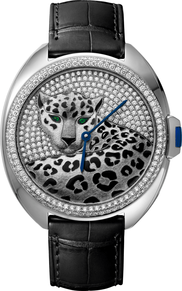 Panthère Jewelry Watches40mm, automatic movement, white gold, enamel, diamonds, leather