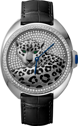 Panthère Jewelry Watches 40mm, automatic movement, white gold, enamel, diamonds, leather