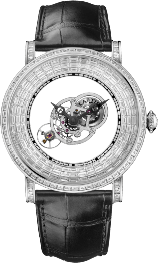 Rotonde Astromystérieux watch with baguette-cut stones 43.5 mm, platinum, diamonds, alligator skin