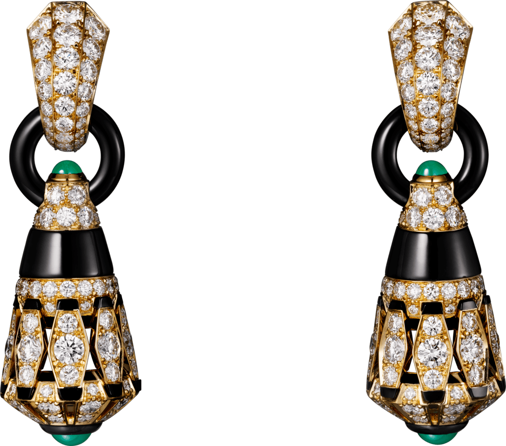 High Jewelry earringsYellow gold, chrysoprases, onyx, black lacquer, diamonds