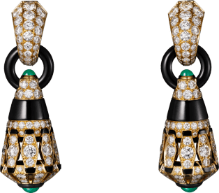 High Jewelry earrings Yellow gold, chrysoprases, onyx, black lacquer, diamonds