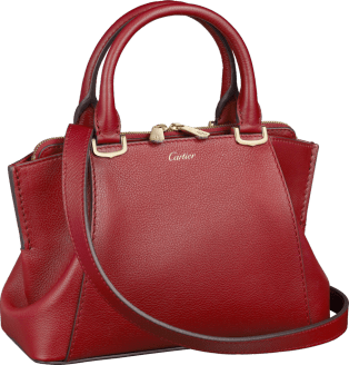 C de Cartier bag, mini model Red spinel taurillon leather, golden finish