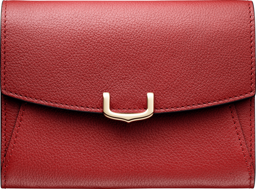 Small Leather Goods C de Cartier two-gusset compact walletRed spinel-colored taurillon leather, golden finish