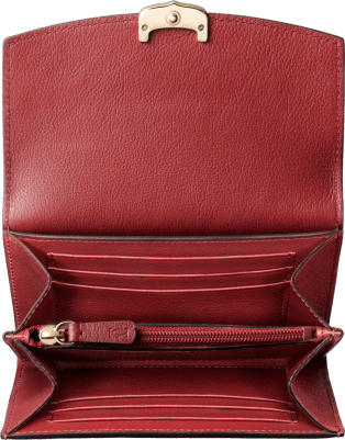 Small Leather Goods C de Cartier two-gusset compact wallet Red spinel taurillon leather, golden finish