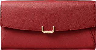 Small Leather Goods C de Cartier, international wallet Red spinel taurillon leather, golden finish