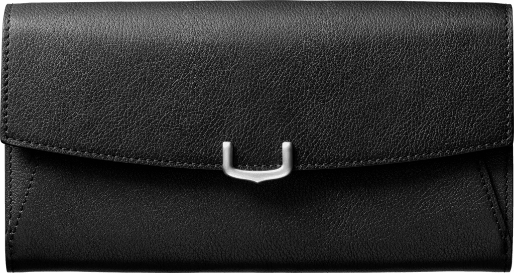 Small Leather Goods C de Cartier, international walletOnyx taurillon leather, palladium finish