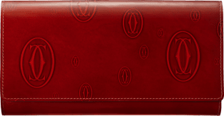 Small Leather Goods Happy Birthday wallet Burgundy calfskin, palladium finish