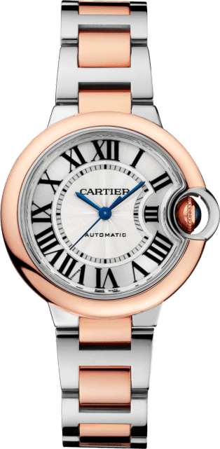 Ballon Bleu de Cartier watch 33 mm, 18K pink gold, steel